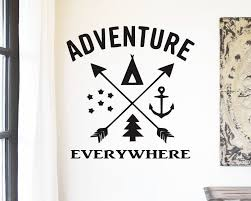 Adventure Is Everywhere Car Camping Vinyl Wall Decal Home Decor Anchor Pine Tree Stars Teepee By Farmstonestud Wall Decals Wall Decal Sticker Vinyl Wall Decals
