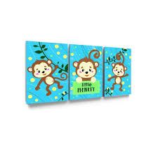 Awkward Styles Little Monkey Canvas Art Cute Animals Illustration Kids Room Wall Art Monkey Prints Funny