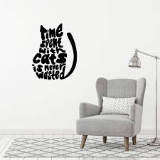 Time Spent With Cats Is Never Wasted Vinyl Sticker For Laptop Or Water Bottle Vinyl Wall Decal For Home Decor Or Veterinary Clinic Decoration Customvinyldecor Cat Lover Gifts Decorative Accessories Stickers