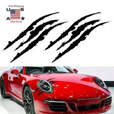 2pcs Scratch Decal Monster Claw Marks Car Vinyl Decal Eye Catching Sticker Black Ebay