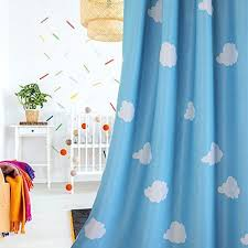 1 Pair Blue And White Cloud Semi Blackout Curtains For Ch Kids Curtains Blackout Curtains Toy Story Room