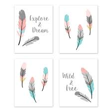 Turquoise And Coral Boho Wall Art Prints Room Decor For Baby Nursery And Kids For Feather Collection By Sweet Jojo Designs Set Of 4 Explore Dream Wild Free Only 29 99
