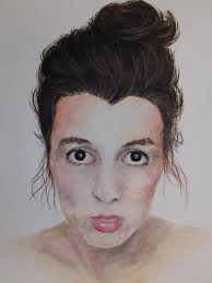 """Artist: Abby Edwards - """"Me: 19x24in. Watercolor. This is a watercolor self  portrait. I created it in one day at college … 