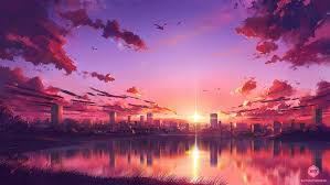 sunset scene hd anime 4k wallpapers