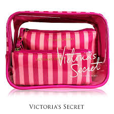 secret makeup bag pink white stripes