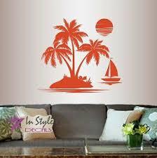 Vinyl Decal Tropical Beach Island Palm Trees Boat Sunset Sunrise Wall Decor 1285 Ebay