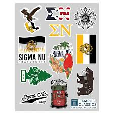 Sigma Nu Sticker Sheet Campus Classics