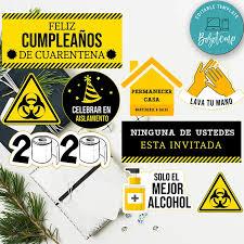 Imprimible Feliz Cumpleanos Plantilla De Centro De Cuarentena