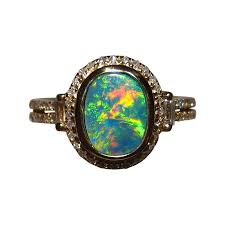 opal diamond ring red green 14k gold