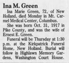 Ina Smith Green obit - Newspapers.com