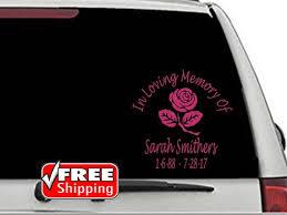 Memorial Decal Rose Memorial Decal Car Decal In Memory Of Etsy