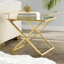 gold frame mirrored tray end table
