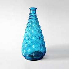 vintage blue glass vase on wanelo