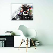 Large 20x14cm Urban Art Window Car Laptop Decal Banksy Thinker Monkey Headphones Design Wall Art Graffiti