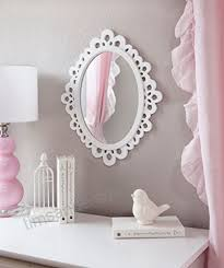 oval wall mirror white wooden frame