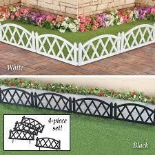 Collections Etc Easy To Install Picket Fence Plastic Garden Border Edging Set Of 4 Black Walmart Com Picket Fence Garden White Garden Fence Garden Border Edging