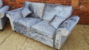 crushed velvet silver sofa 3 seater