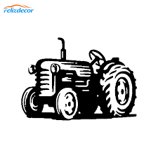 Car Sticker Decal Tractor Farm Farmer Truck Art Car Rear Windshield Decor Waterproof Cartoon Decals Window White Black L522 Car Stickers Aliexpress