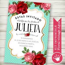 Kit Imprimible Personalizado Digital Flores Acqua Vintage Estilo