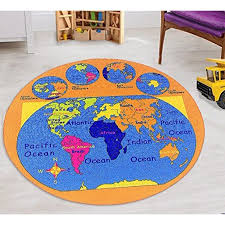 World Map Kids Educational Play Mat For School Classroom Kids Room Daycare Nursery Non Slip Gel Back Rug Carpet 8 Feet Round Walmart Com Walmart Com