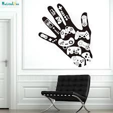 Hand Games Gamepad Decal Gamer Xbox Playstation Wall Decal Sticker Vinyl Home Decoration Boy Room Art Vinyl Poster Yt1433 Wall Stickers Aliexpress