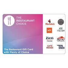 restaurant choice gift vouchers