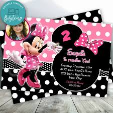 Editable Rosa Y Negro Invitaciones De Minnie Mouse Con Foto Diy