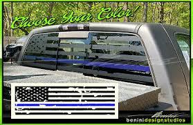 Blue Line American Flag Pick Up Truck Back Window Decal Matte Black Colorado Ebay