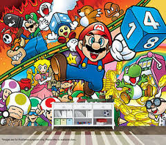 Super Mario Bros Wall Mural Wall Art Quality Pastable Wallpaper Decal Retro Ebay