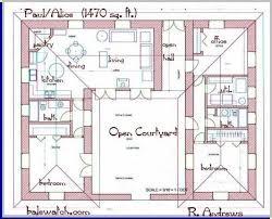 courtyard house plans u shaped house
