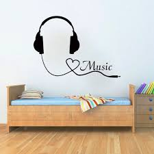 Wall Decals Music Decal Vinyl Sticker Headphones Heart Decor Home Bedroom Hall Studio Interior Design Art M Music Bedroom Music Themed Bedroom Music Room Decor