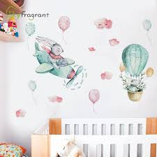 Hot Offer A90730 Creative Cartoon Rabbit Sky Paradise Wall Sticker Large Self Adhesive Stickers Home Decor Baby Bedroom Kids Room Decoration Cicig Co