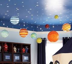 Blue Ceiling With Painted Stars Space Themed Bedroom Kid Room Decor Boy Room