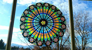Stained Glass Rose Window Window Cling Suncatcher 8 4 Etsy Stained Glass Rose Stained Glass Window Clings Rose Window