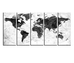 Amazon Com Black And White World Map Canvas Framed Push Pin Travel World Map Wall Decal Multi Panel 5 Pieces Detailed World Map Grey Hrt119 Handmade