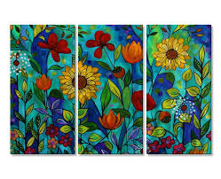 All My Walls Garden Party 2 by Peggy Davis 3 Piece Painting Set ...