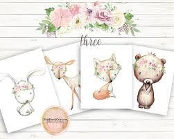 3 Choose Three Boho Fox Bear Deer Bunny Wall Art Print Woodland Flor Pink Forest Cafe