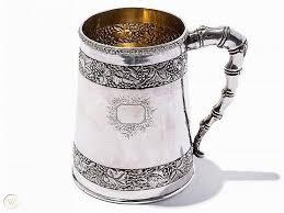 export silver mug with g vine bands
