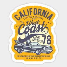 California West Coast Sunset Retro Sunset Sticker Teepublic