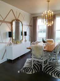 dining table with zebra cowhide rug