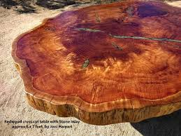 huge redwood burl cross cut table with