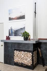 log slice fireplace screen