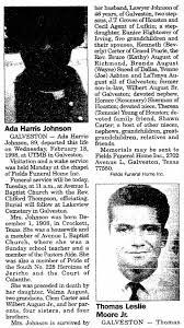 Obituary for Ada Harris Johnson, 1908-1998 (Aged 89) - Newspapers.com