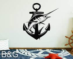 Amazon Com Marlin Decal Blue Marlin Anchor Decals Fishing Stickers Marlin Fish Sticker Anchor Window Decals Boat Decal Fish Decor B G Handmade