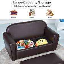 Shop Gymax Kids Sofa Armrest Chair Lounge Couch Wood Construction Storage On Sale Overstock 22833856