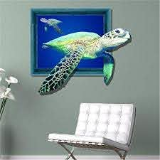 Amazon Com Ghaif Modern Minimalist Style Creative 3d Sea Turtle Wall Decals Bedroom Living Room Sofa Wall Pvc Self Adhesive Solid Wall Posters 5867cm Home Kitchen