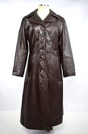 vtg 80s dark brown leather trench coat