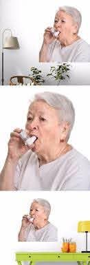 Senior Woman With Asthma Inhaler Wall Decals Wall Decals Asthma Inhaler Cool Items