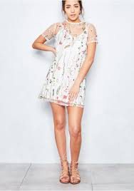 Iva White Overlay Floral Embroidered Shift Dress Missy Empire
