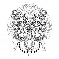 Vlinder En Diamanten Kleurplaat Voor Volwassenen Vlinders